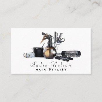 hair stylist salon tools beauty business card