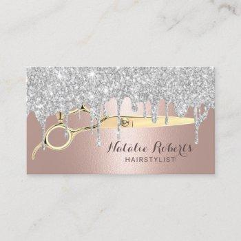 hair stylist silver drips rose gold beauty salon business card