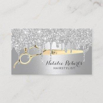 hair stylist silver glitter drips beauty salon business card