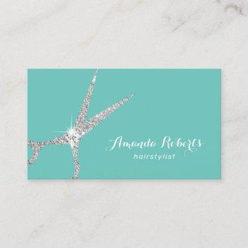 hair stylist silver glitter scissor salon teal business card