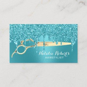 hair stylist turquoise glitter drips beauty salon business card