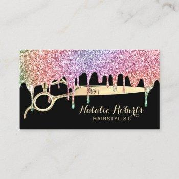 hair stylist unicorn drips beauty salon black business card