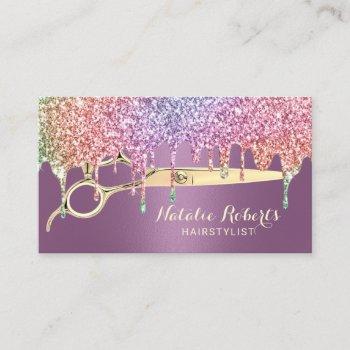 hair stylist unicorn drips beauty salon purple business card