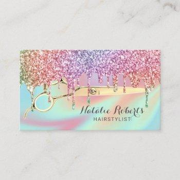hair stylist unicorn glitter drips beauty salon business card
