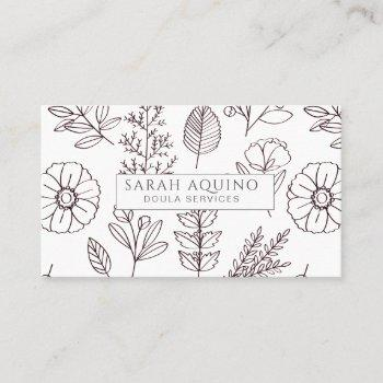 hand drawn floral doodle doula birth coach white business card