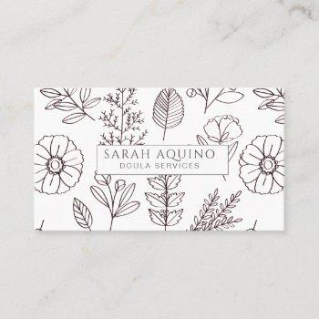 hand drawn floral doodle doula white birth coach business card