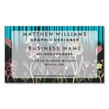 hand drawn flower & rain scene business card magnet