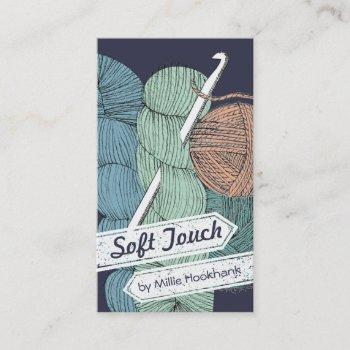 hand drawn twisted yarn hank skein crochet hook business card