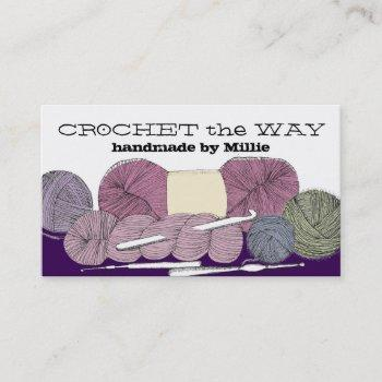 hand drawn twisted yarn hank skein crochet hooks business card