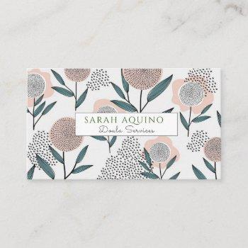 hand drawn whimsical flowers doula birth services business card