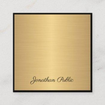 hand script text modern glam gold elegant luxury square business card
