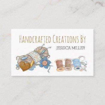 handcrafted creations yarn and sewing white business card