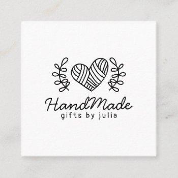 handmade crafts modern black and white logo rustic calling card