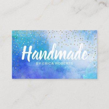 handmade gift gold confetti elegant watercolor business card