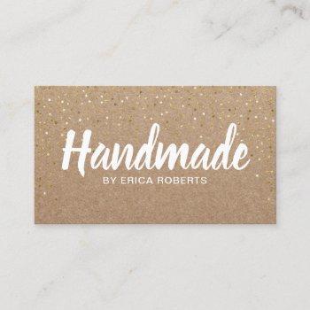 handmade gift gold confetti rustic kraft business card