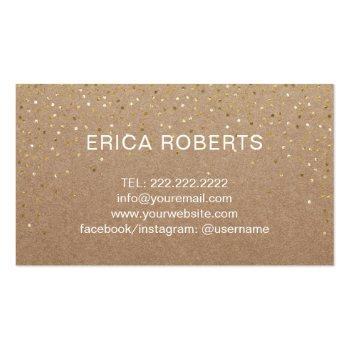 Small Handmade Gift Gold Confetti Rustic Kraft Business Card Back View