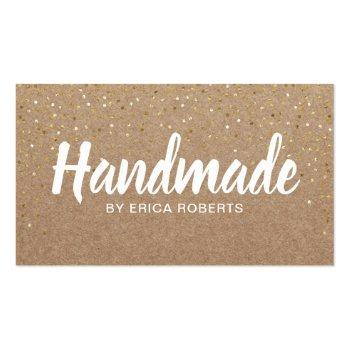 Small Handmade Gift Gold Confetti Rustic Kraft Business Card Front View