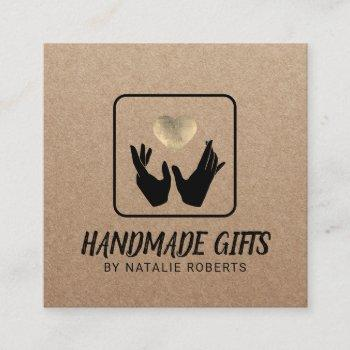 handmade gift hands & heart rustic kraft square business card