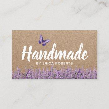 handmade gift rustic kraft lavender floral business card