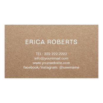 Small Handmade Gift Rustic Kraft Lavender Floral Business Card Back View