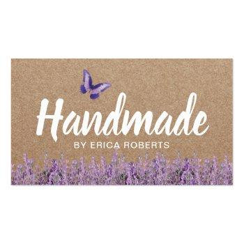 Small Handmade Gift Rustic Kraft Lavender Floral Business Card Front View