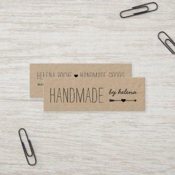 handmade heart | rustic kraft mini business card