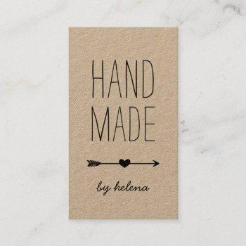 handmade heart | rustic kraft vertical business card