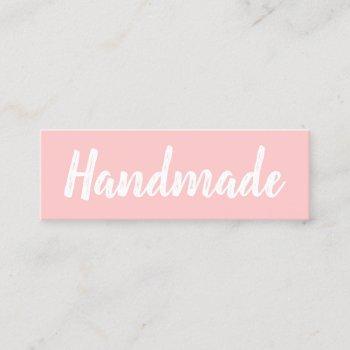 handmade minimalist modern simple pastel pink mini business card