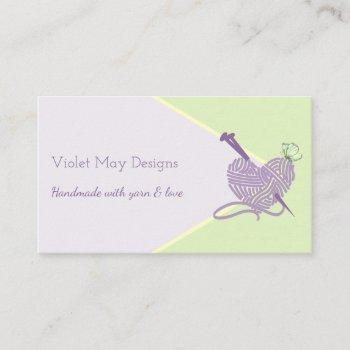handmade pastel green knitting or yarn craft business card