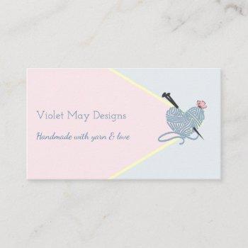 handmade pastel pink blue knitting or yarn craft business card