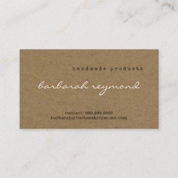 handmade products visit-card on faux kraft texture business card