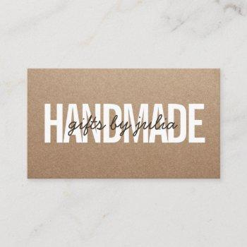 handmade rustic brown kraft vintage brown script business card