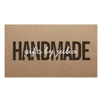 Small Handmade Rustic Brown Kraft Vintage White Script Business Card Front View