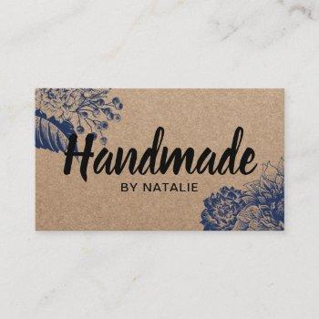 handmade vintage floral minimalist rustic kraft business card