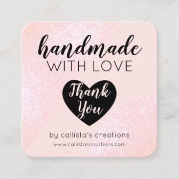 handmade with love blush pink glitter geo heart square business card
