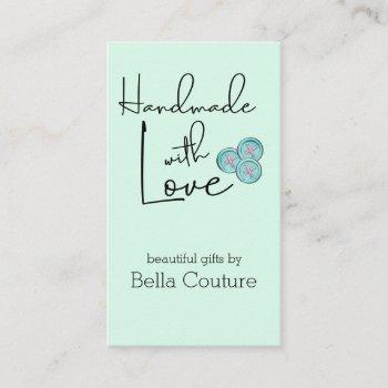 handmade with love cute buttons mint vertical business card