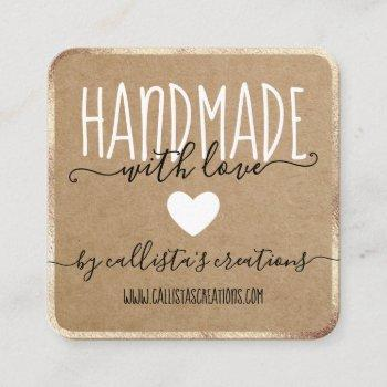 handmade with love etsy home crafter art fair gold square business card