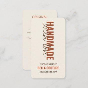 handmade with love in oversized typography cream business card