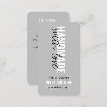 handmade with love in oversized typography grey  business card