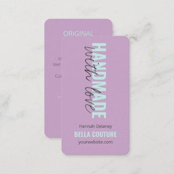 handmade with love in oversized typography lilac business card