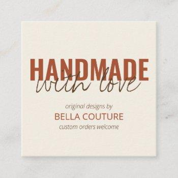 handmade with love oversized typography cream square business card