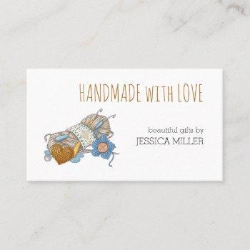 handmade with love yarn craft white business card