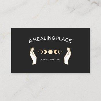 hands moon phases energy worker business card