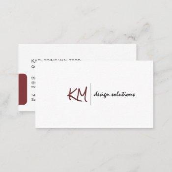 handwritten monogram | simple corporate business card