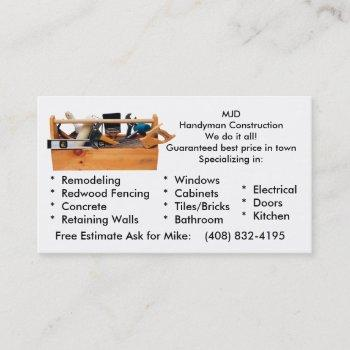 handy man construction business card