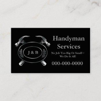 handyman business card, black business card
