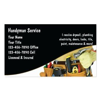 Small Handyman Business Cards Front View