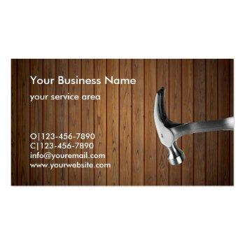 Small Handyman Construction Remodeling Business Cards Back View