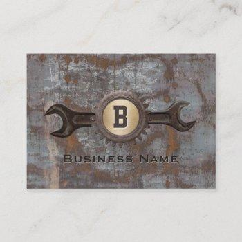 handyman repair gear monogram vintage rusty metal business card