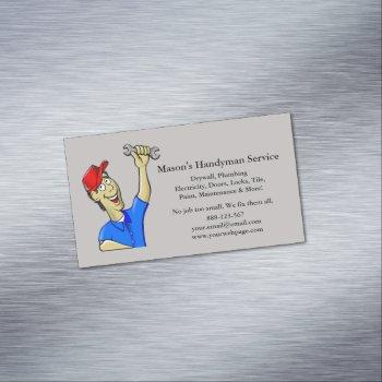 handyman repairman caricature tools magnetic business card